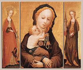 Triptych, 'Madonna of the flowering sweetpea', by 'the Master of Saint Veronica', early 15th century